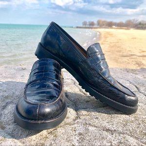 Ralph Lauren Croc-Embossed Lug Sole Loafers